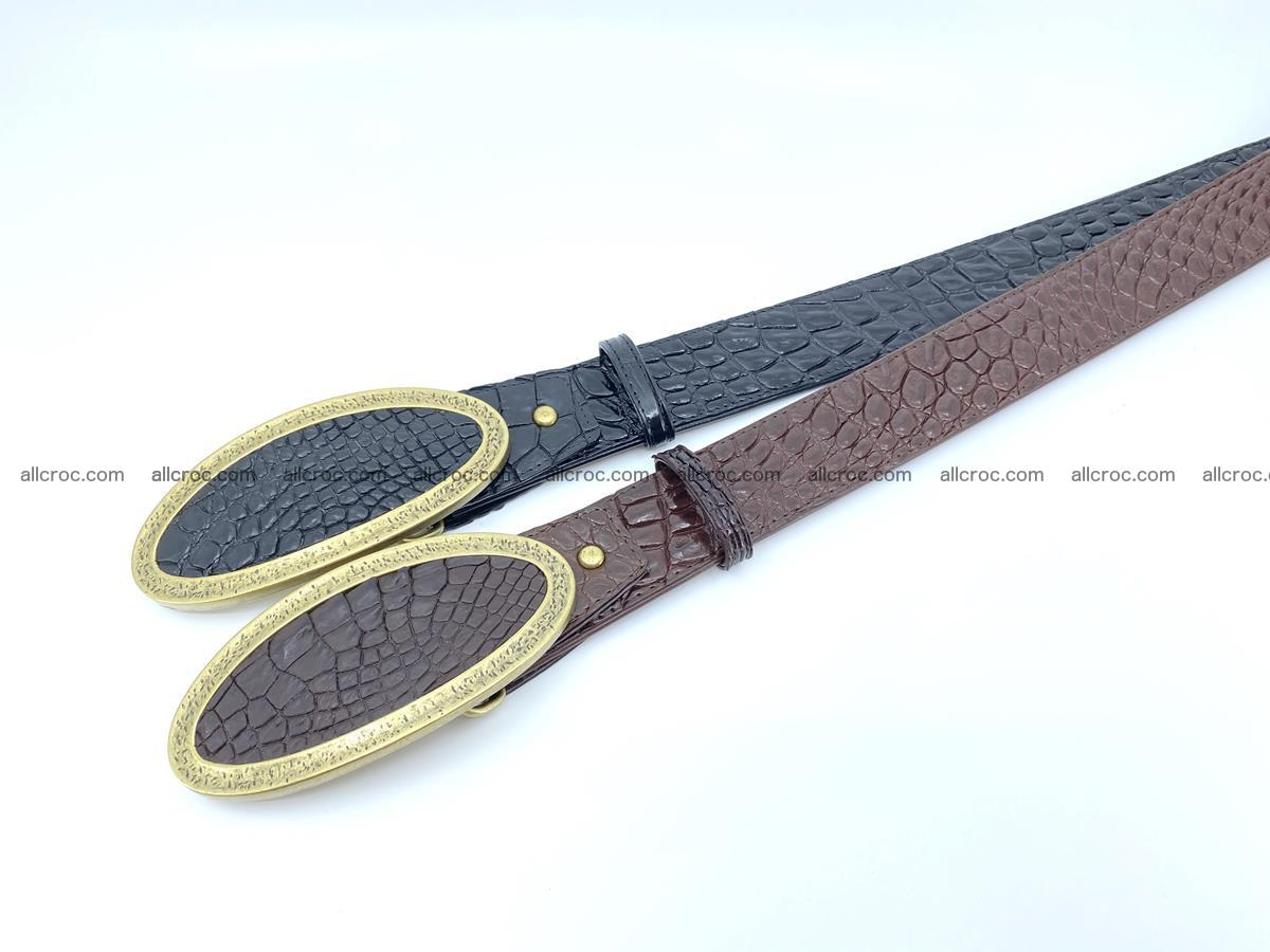 Handcrafted Crocodile leather belt 803 Foto 8