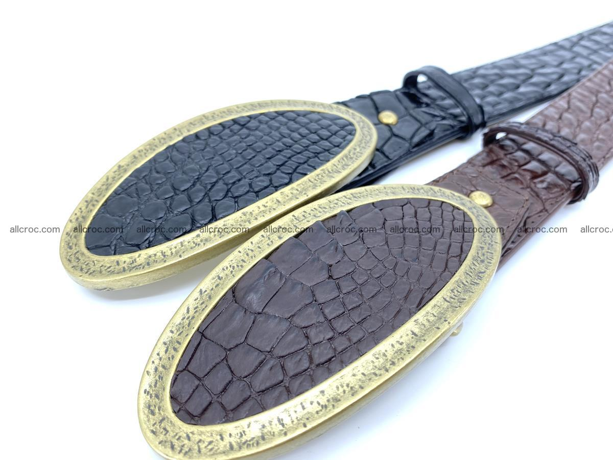 Handcrafted Crocodile leather belt 803 Foto 7