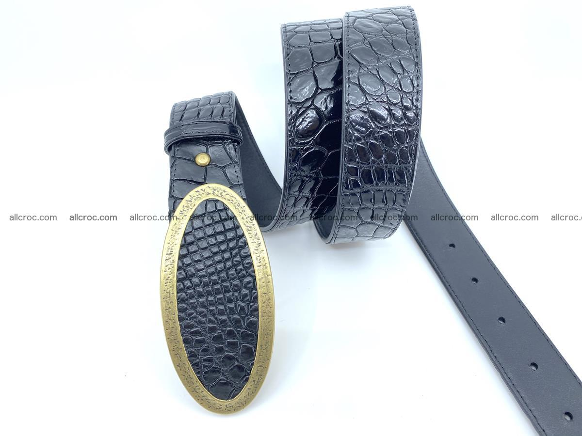 Handcrafted Crocodile leather belt 803 Foto 2