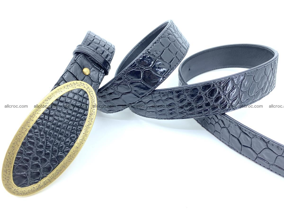 Handcrafted Crocodile leather belt 803 Foto 3