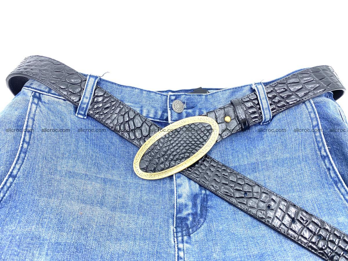 Handcrafted Crocodile leather belt 803 Foto 5