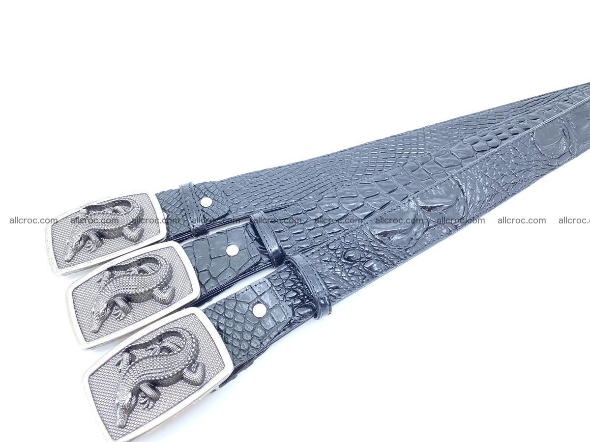 Handcrafted Crocodile leather belt 813 Foto 8