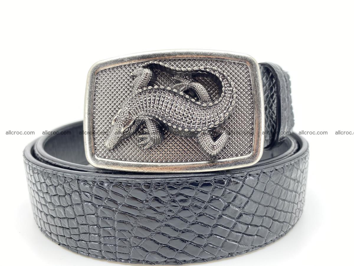Handcrafted Crocodile leather belt 813 Foto 11