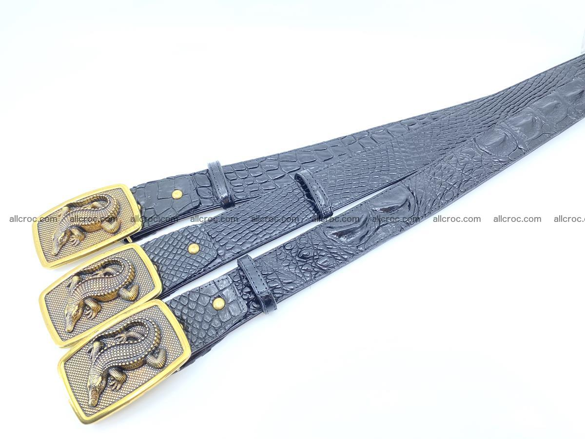 Handcrafted Crocodile leather belt 817 Foto 8