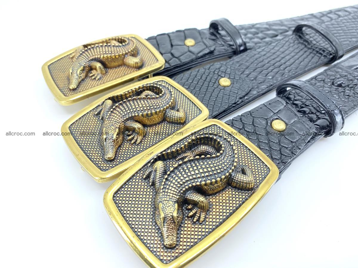 Handcrafted Crocodile leather belt 817 Foto 7