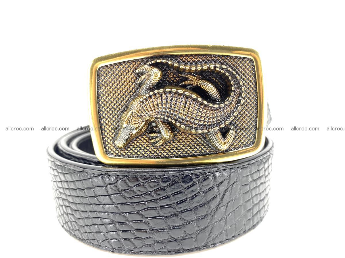 Handcrafted Crocodile leather belt 817 Foto 10