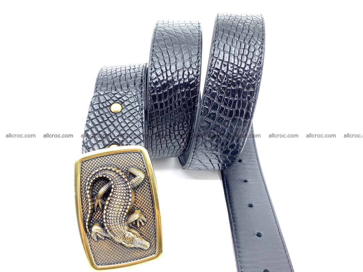 Handcrafted Crocodile leather belt 817 Foto 2