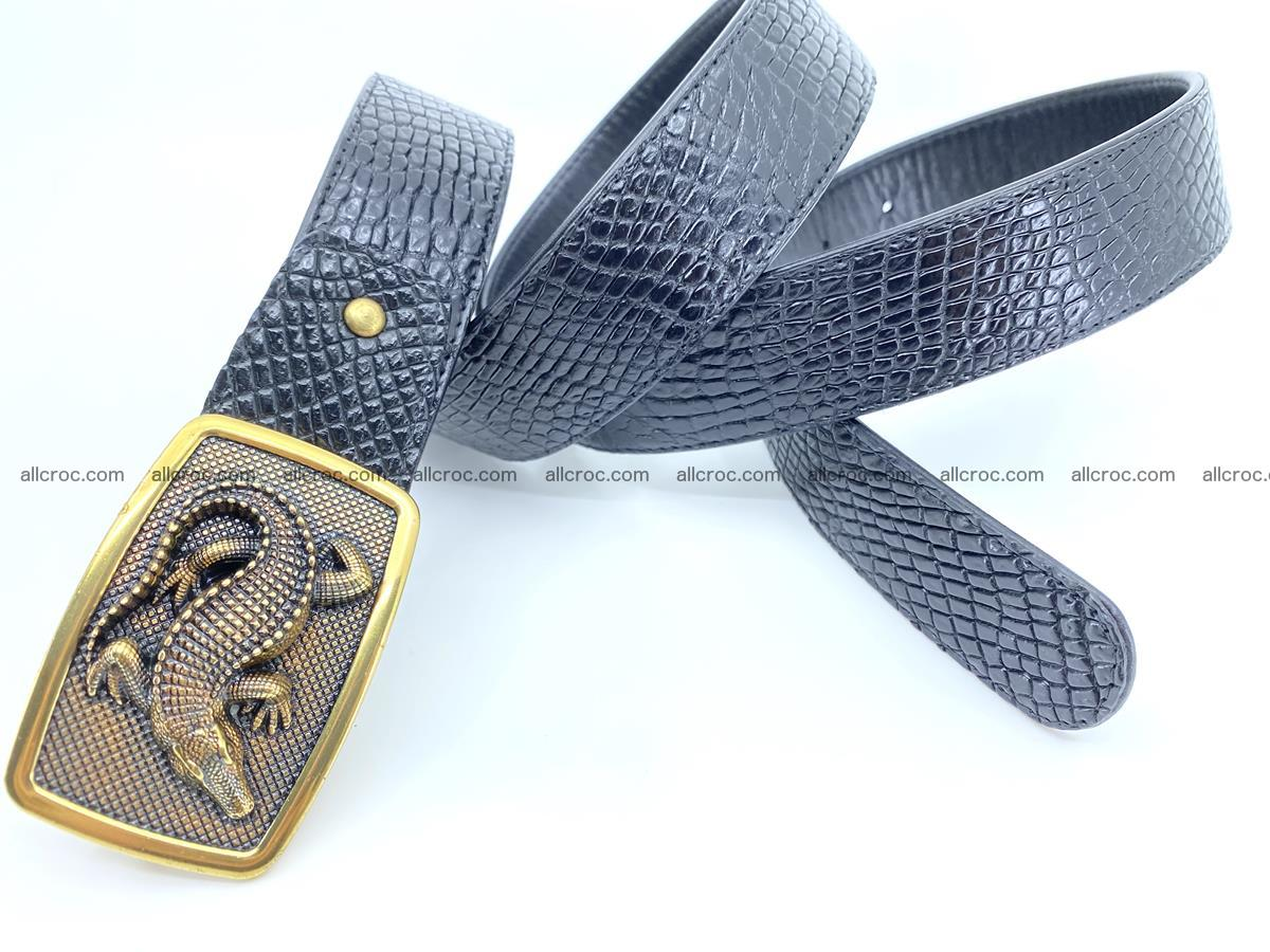 Handcrafted Crocodile leather belt 817 Foto 3
