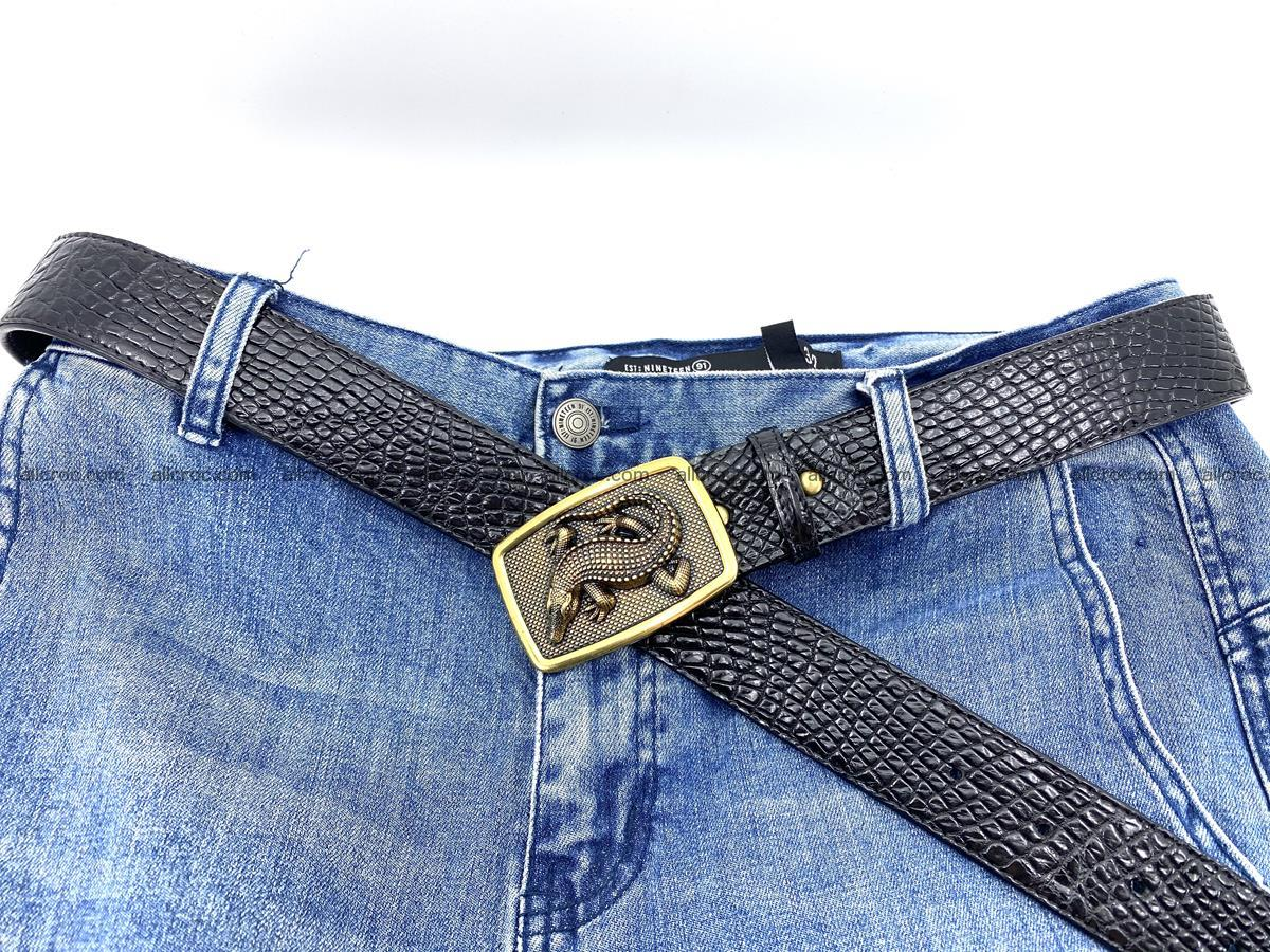 Handcrafted Crocodile leather belt 817 Foto 5