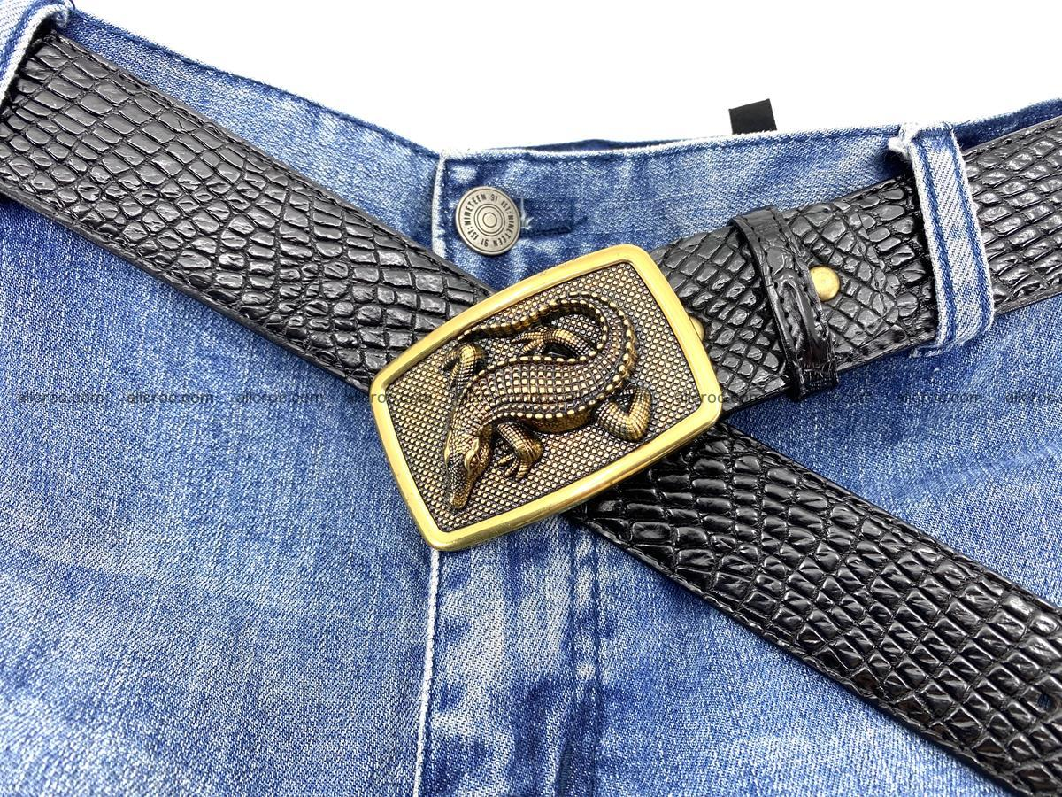 Handcrafted Crocodile leather belt 817 Foto 6