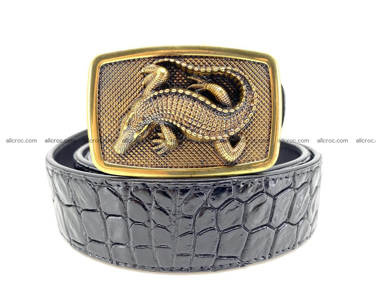 Handcrafted Crocodile leather belt 815 Foto 9