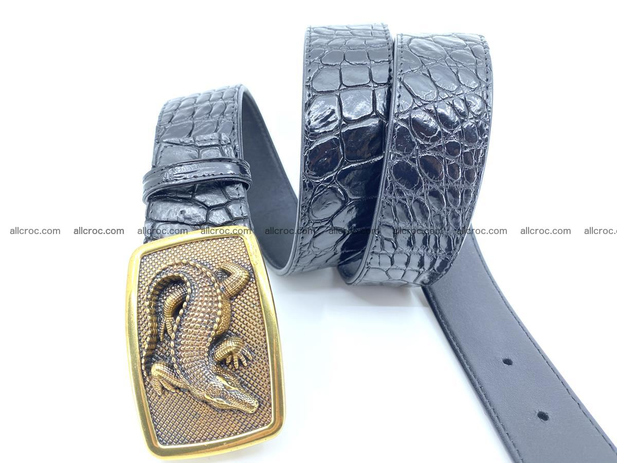 Handcrafted Crocodile leather belt 815 Foto 2