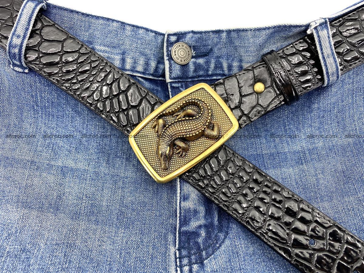 Handcrafted Crocodile leather belt 815 Foto 5