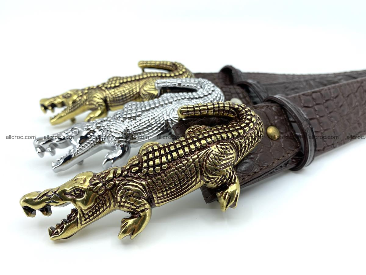 Handcrafted Crocodile leather belt 757 Foto 15
