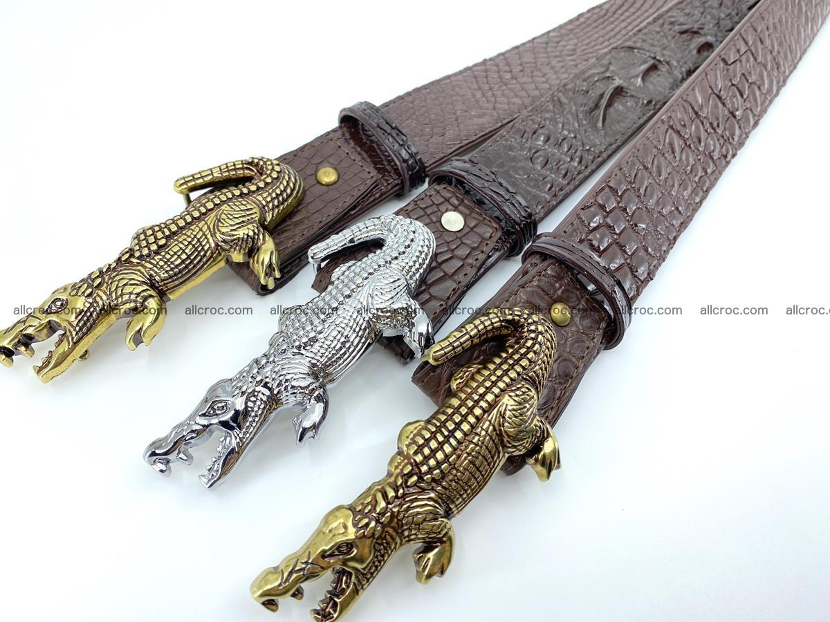 Handcrafted Crocodile leather belt 757 Foto 18