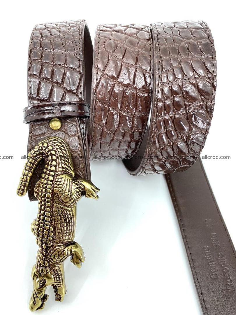 Handcrafted Crocodile leather belt 757 Foto 3