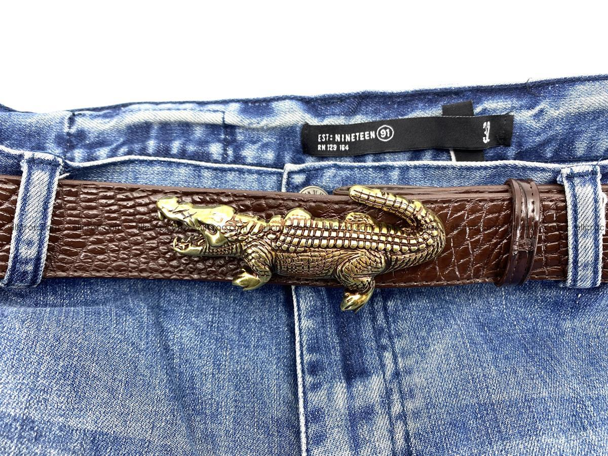 Handcrafted Crocodile leather belt 757 Foto 5