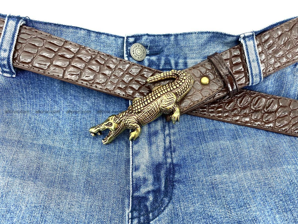 Handcrafted Crocodile leather belt 757 Foto 6