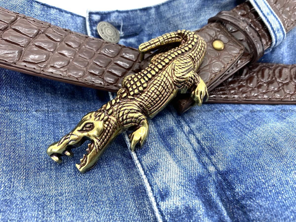 Handcrafted Crocodile leather belt 757 Foto 7