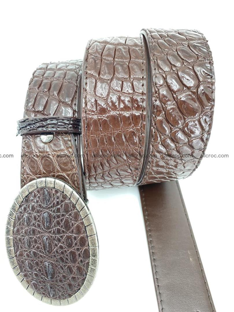 Handcrafted Crocodile leather belt 772 Foto 3
