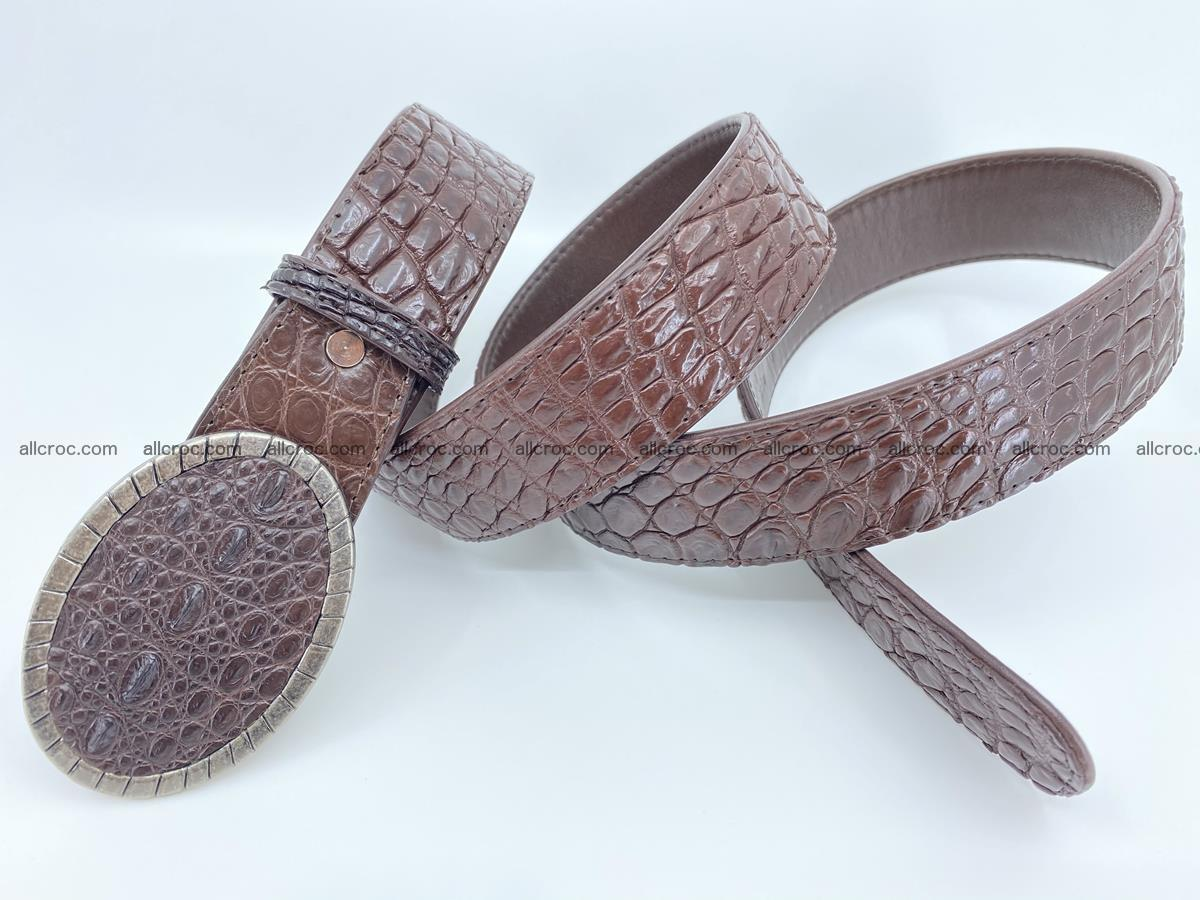 Handcrafted Crocodile leather belt 772 Foto 4