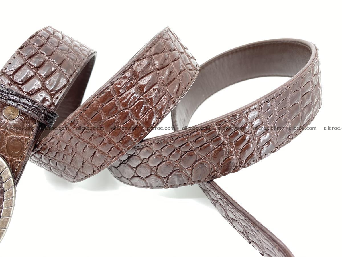 Handcrafted Crocodile leather belt 772 Foto 5