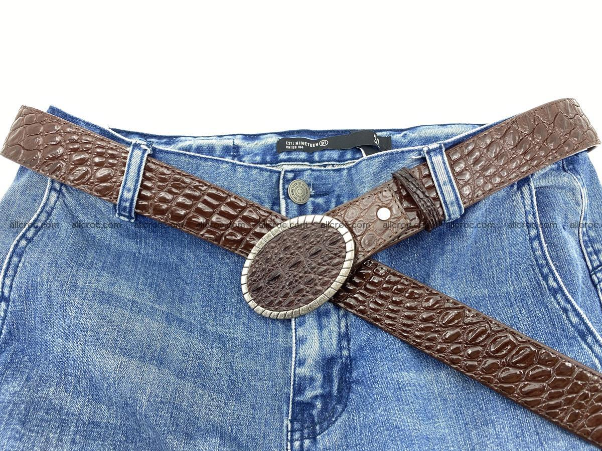 Handcrafted Crocodile leather belt 772 Foto 6