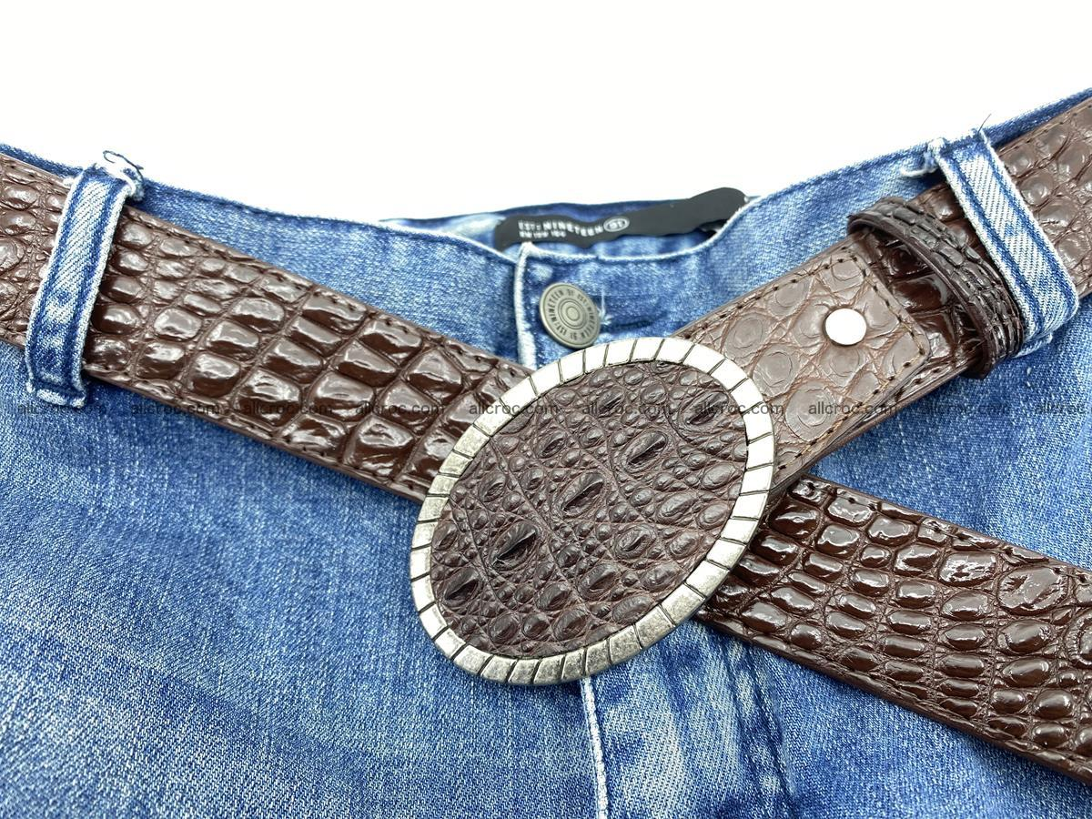 Handcrafted Crocodile leather belt 772 Foto 7