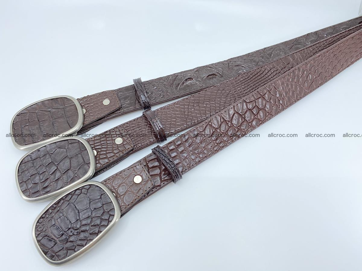 Handcrafted Crocodile leather belt 782 Foto 8