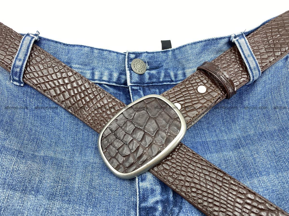Handcrafted Crocodile leather belt 782 Foto 6
