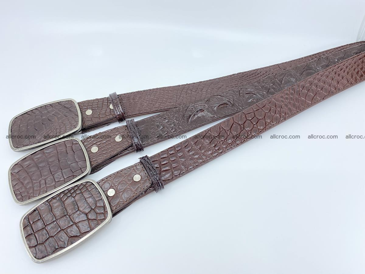 Handcrafted Crocodile leather belt 783 Foto 8