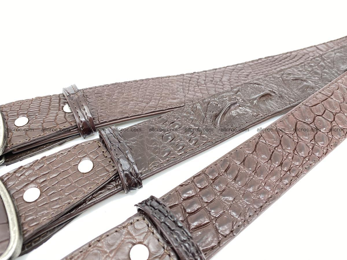 Handcrafted Crocodile leather belt 783 Foto 9
