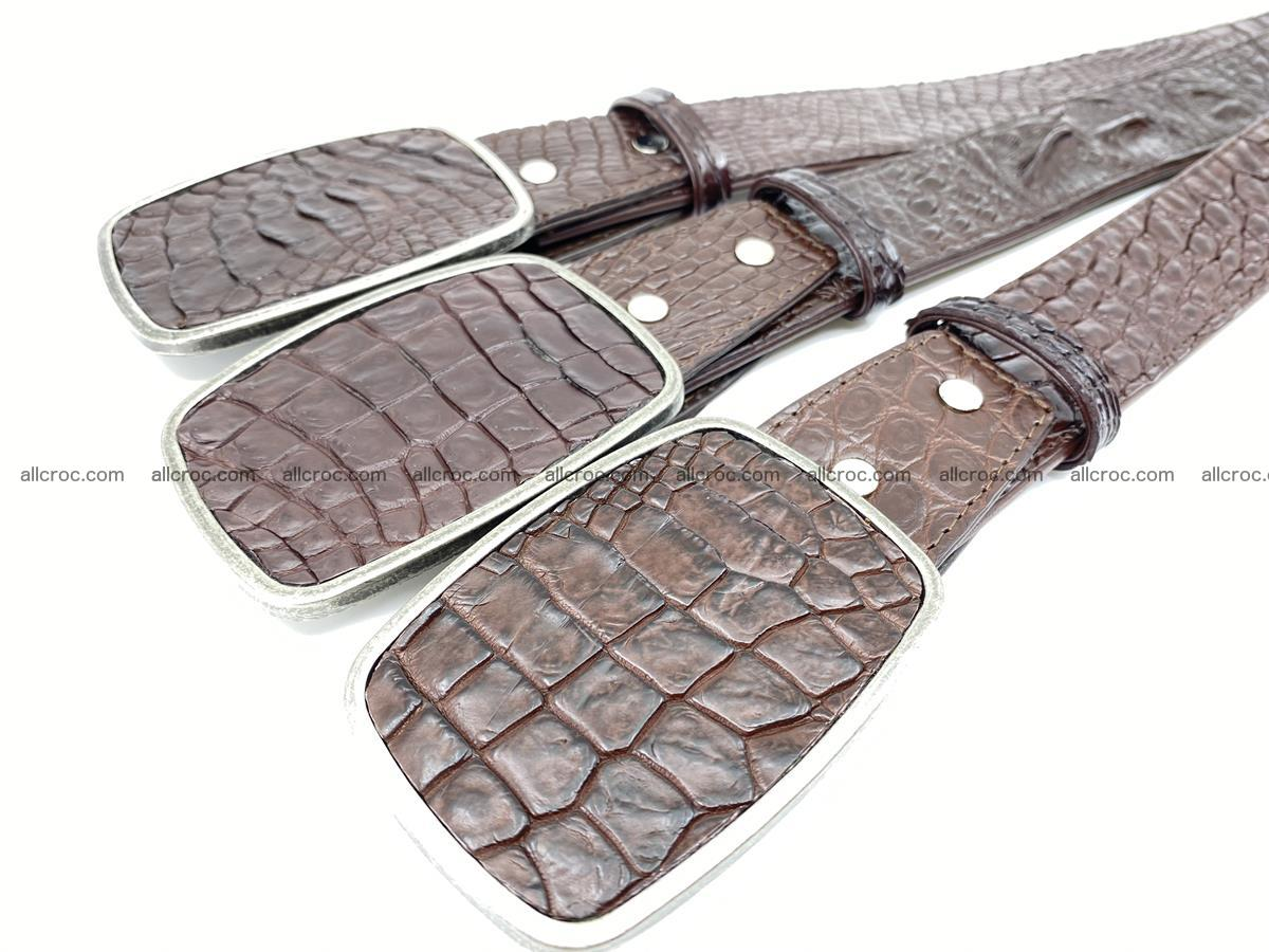 Handcrafted Crocodile leather belt 783 Foto 7