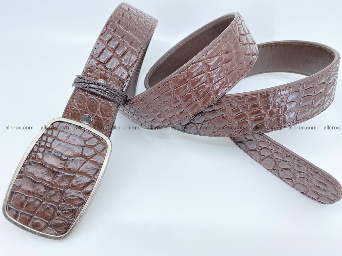 Handcrafted Crocodile leather belt 783 Foto 3
