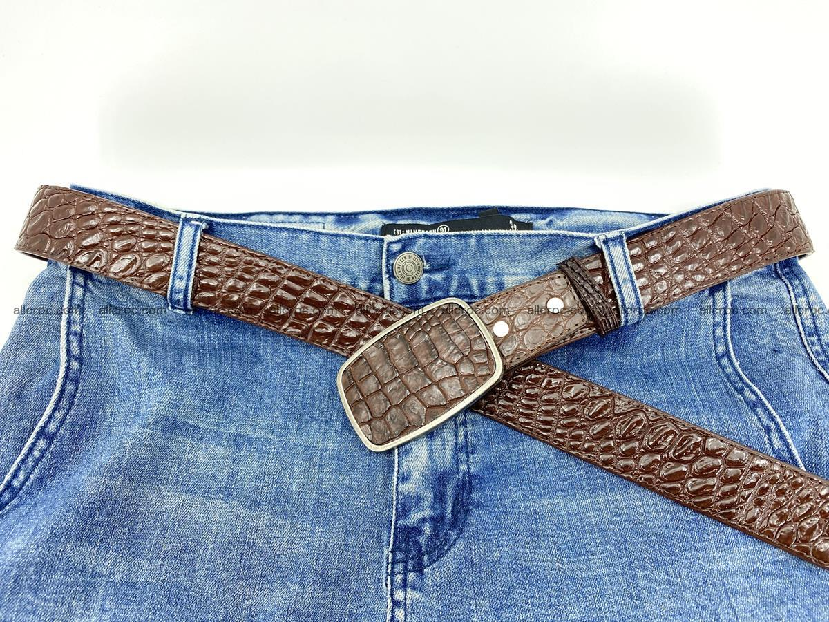 Handcrafted Crocodile leather belt 783 Foto 5