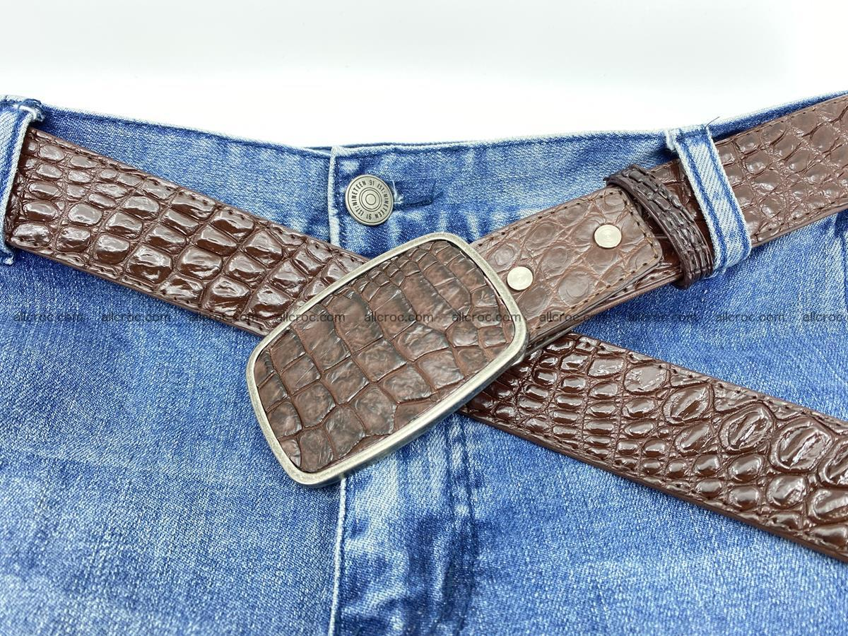 Handcrafted Crocodile leather belt 783 Foto 6