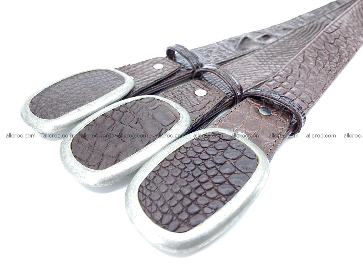Handcrafted Crocodile leather belt 797 Foto 7