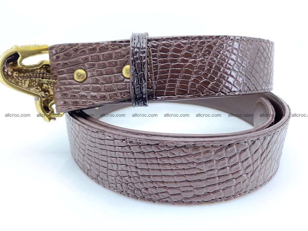 Handcrafted Crocodile leather belt 758 Foto 3
