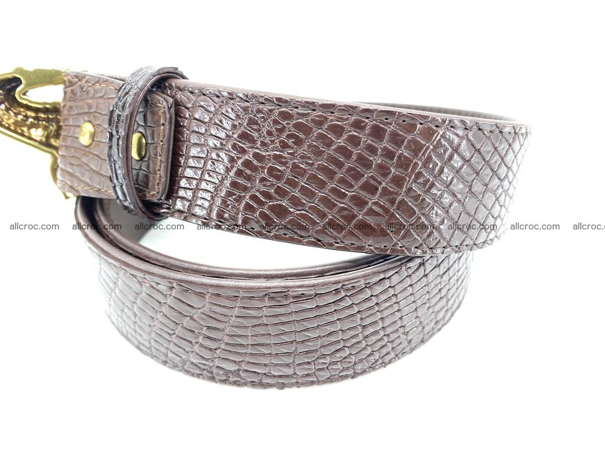 Handcrafted Crocodile leather belt 758 Foto 4