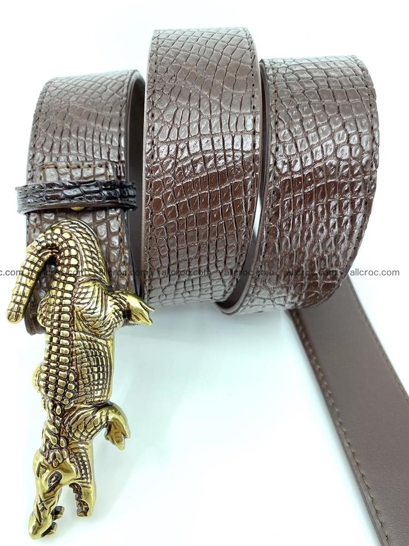 Handcrafted Crocodile leather belt 758 Foto 5