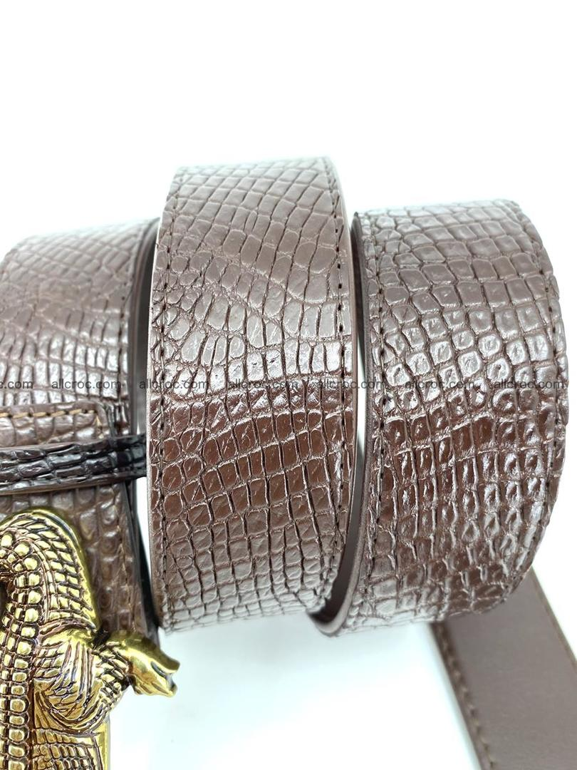 Handcrafted Crocodile leather belt 758 Foto 6