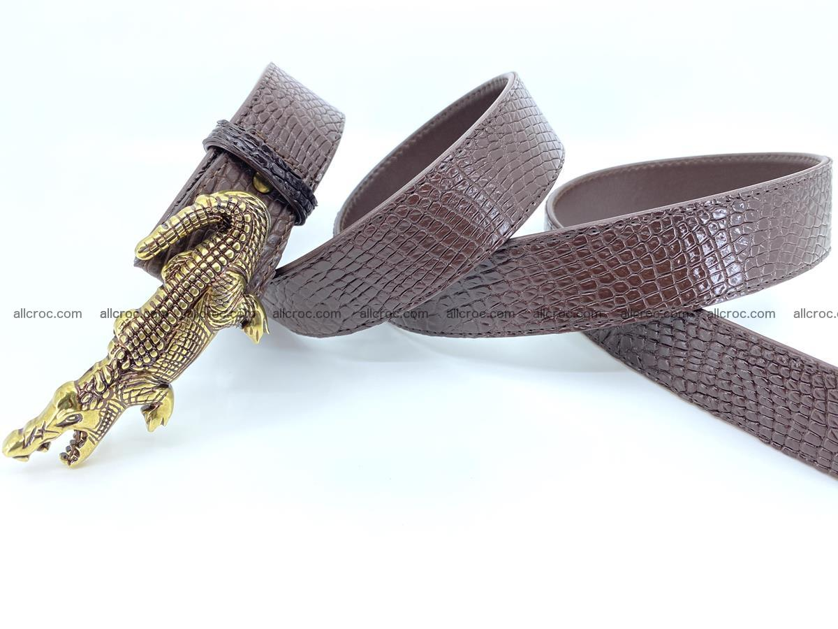 Handcrafted Crocodile leather belt 758 Foto 7