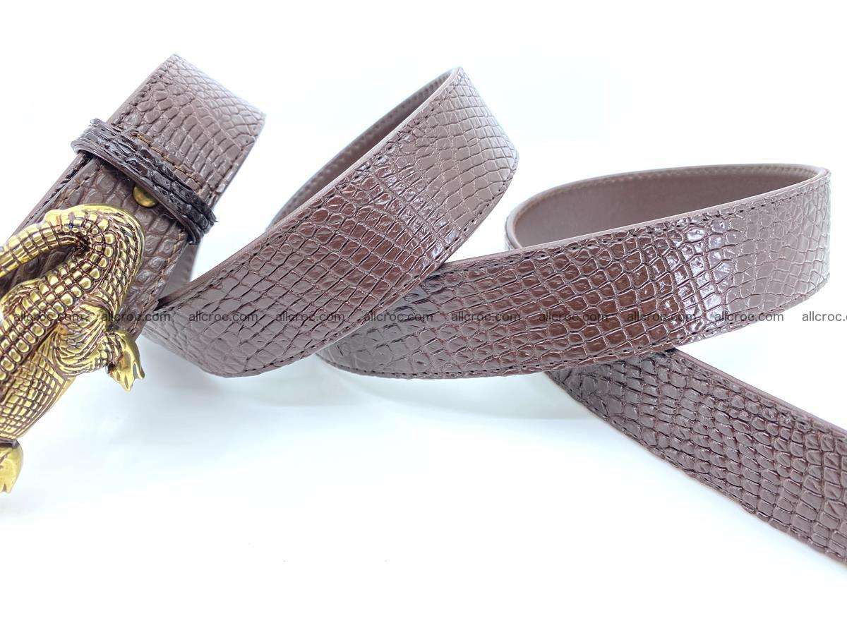 Handcrafted Crocodile leather belt 758 Foto 8