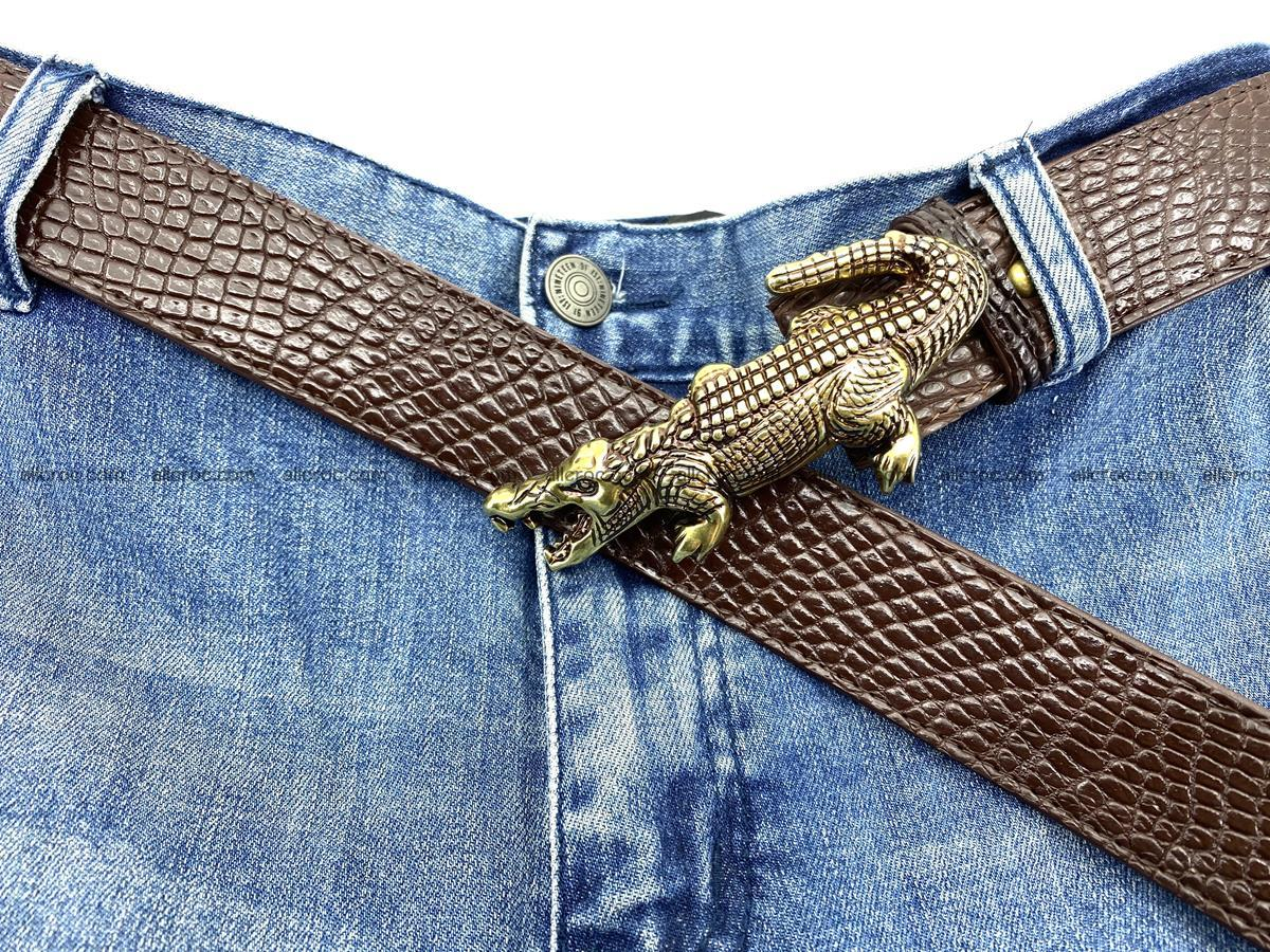 Handcrafted Crocodile leather belt 758 Foto 9