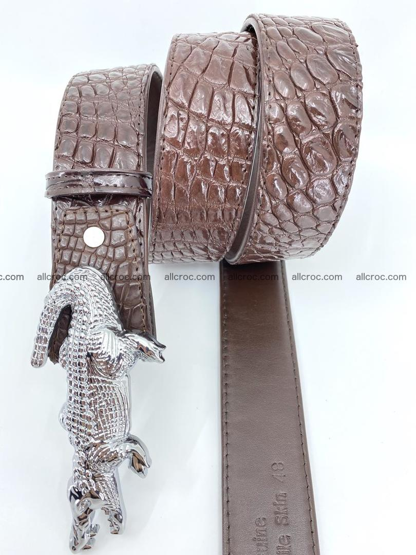 Handcrafted Crocodile leather belt 760 Foto 3
