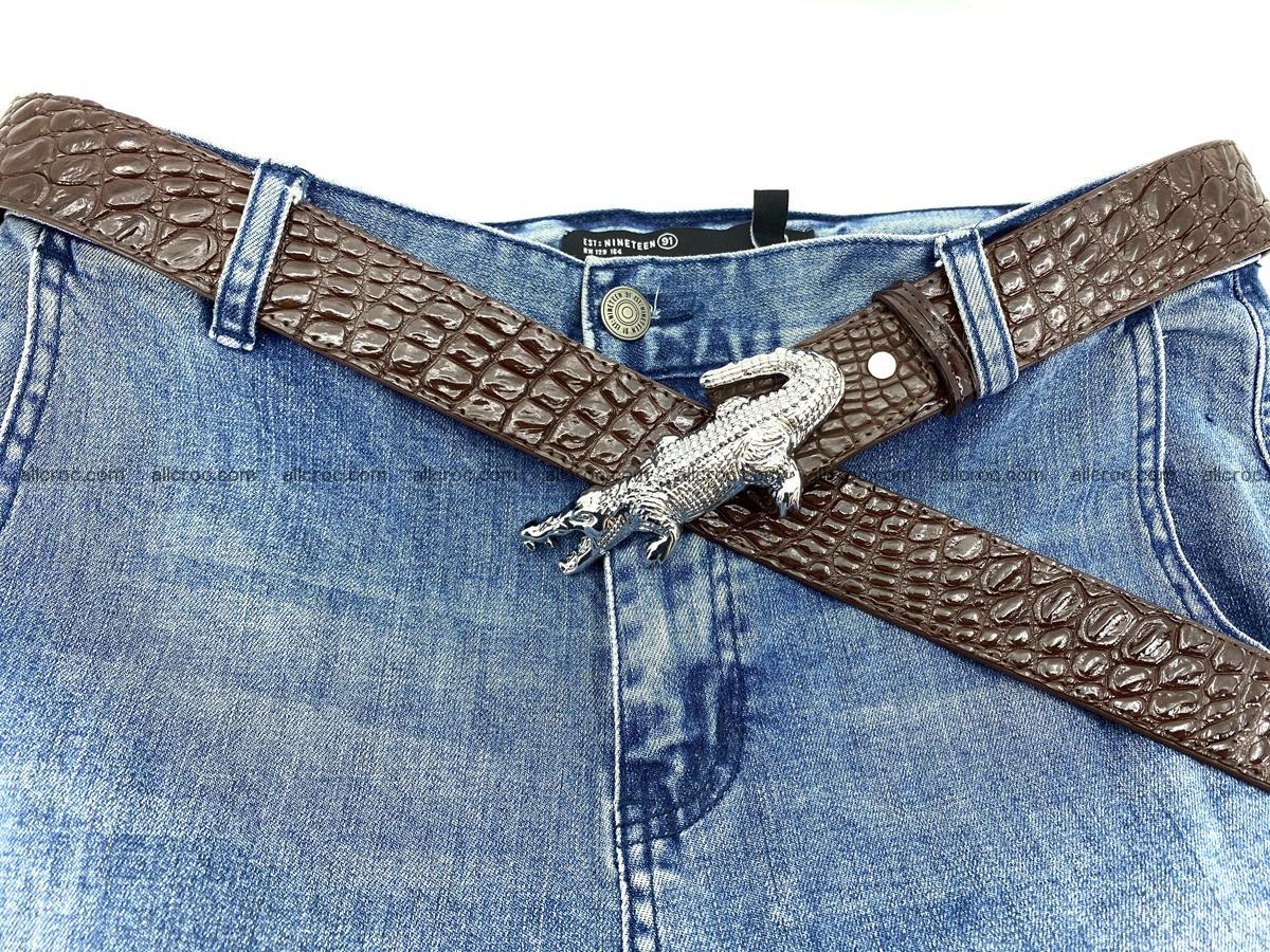 Handcrafted Crocodile leather belt 760 Foto 7