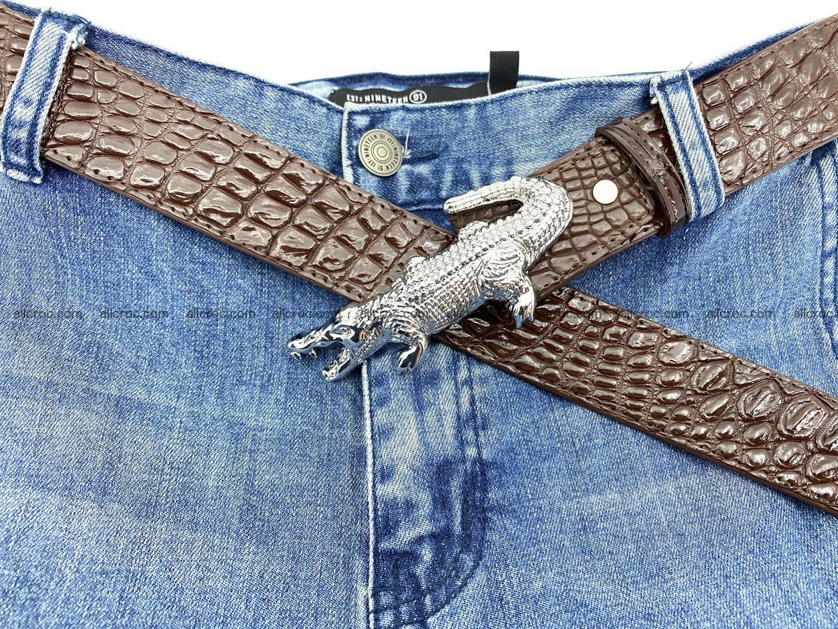 Handcrafted Crocodile leather belt 760 Foto 8
