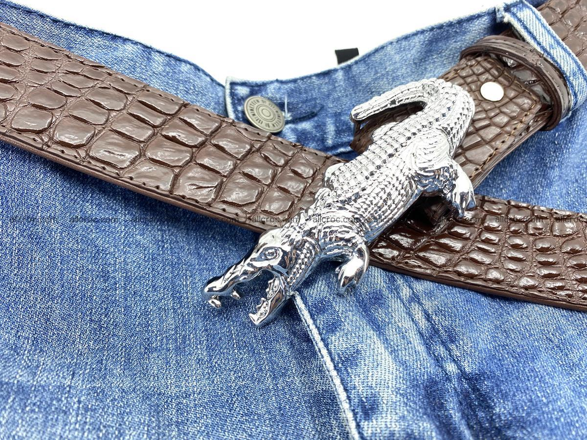 Handcrafted Crocodile leather belt 760 Foto 9