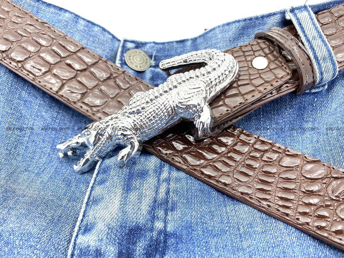 Handcrafted Crocodile leather belt 760 Foto 10