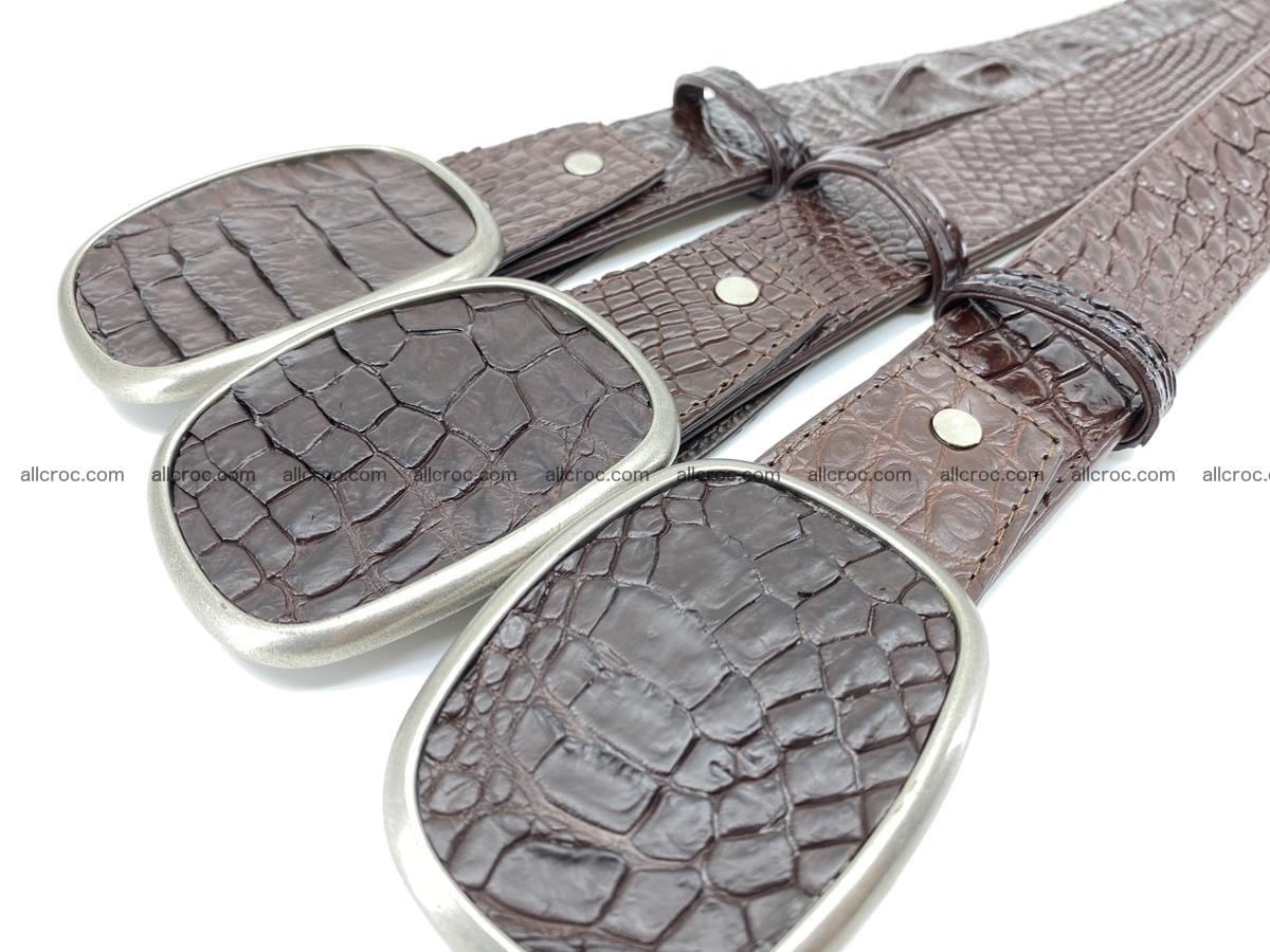 Handcrafted Crocodile leather belt 781 Foto 7